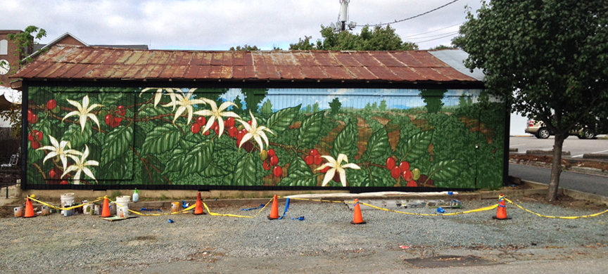 A pastoral mural featuring a coffee plant on a coffee barn in Carrboro N.C.